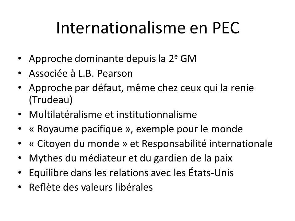 Internationalisme en PEC Approche dominante depuis la 2 e GM Associée à L.B.