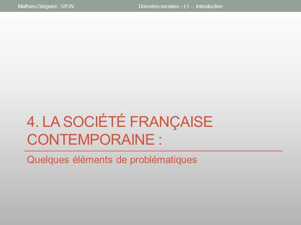 4. LA SOCIÉTÉ FRANÇAISE CONTEMPORAINE : Quelques éléments de problématiques Données sociales – L1 – IntroductionMathieu Grégoire - UPJV