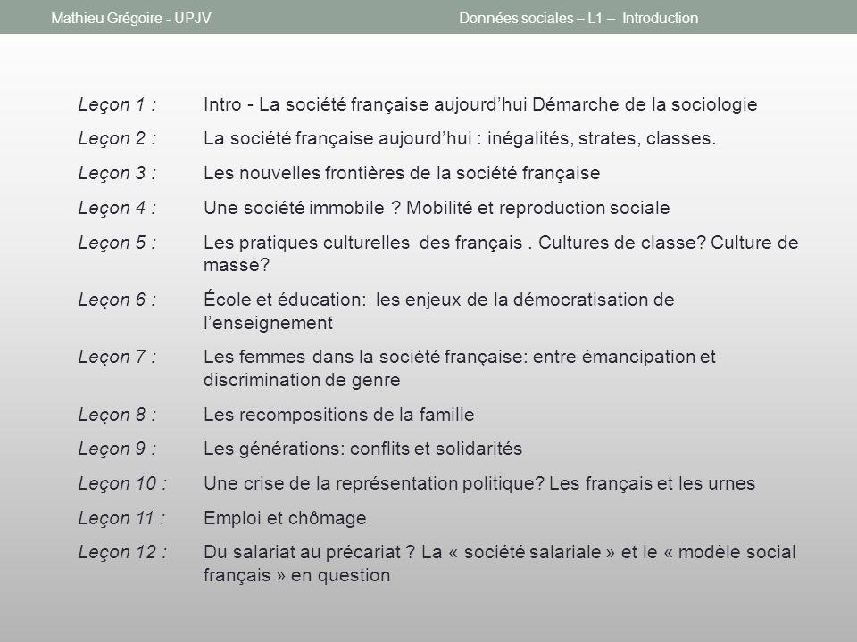 Données sociales – L1 – Introduction Leçon 1 :Intro - La société française aujourdhui Démarche de la sociologie Leçon 2 : La société française aujourd