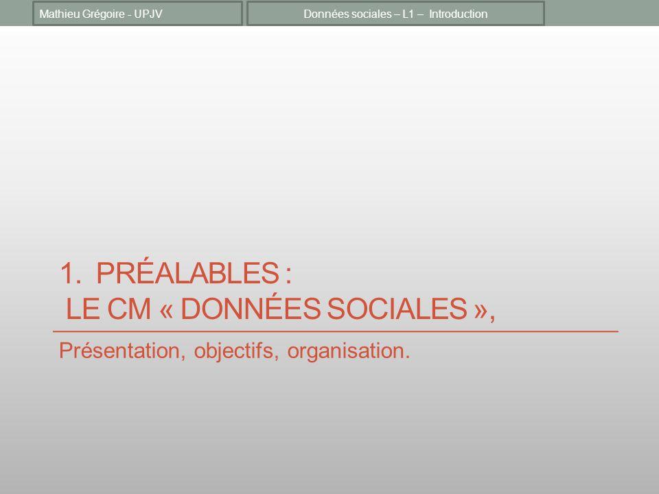1. PRÉALABLES : LE CM « DONNÉES SOCIALES », Présentation, objectifs, organisation. Données sociales – L1 – IntroductionMathieu Grégoire - UPJV