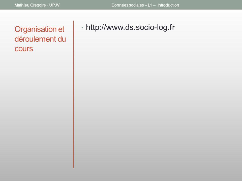 Organisation et déroulement du cours http://www.ds.socio-log.fr Mathieu Grégoire - UPJVDonnées sociales – L1 – Introduction