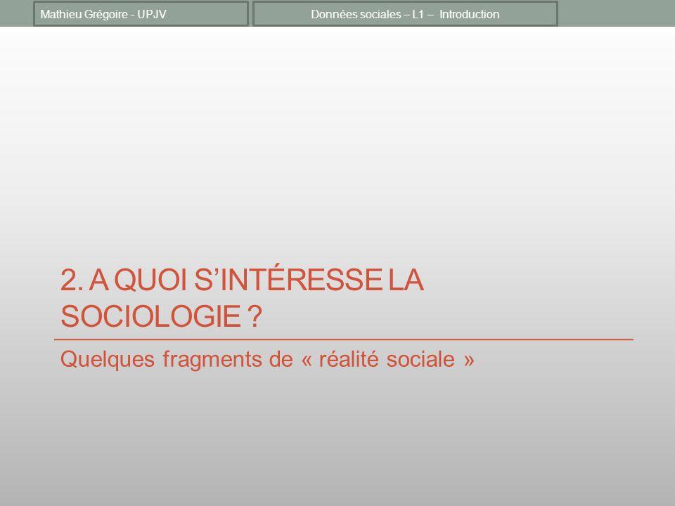 2. A QUOI SINTÉRESSE LA SOCIOLOGIE ? Quelques fragments de « réalité sociale » Données sociales – L1 – IntroductionMathieu Grégoire - UPJV