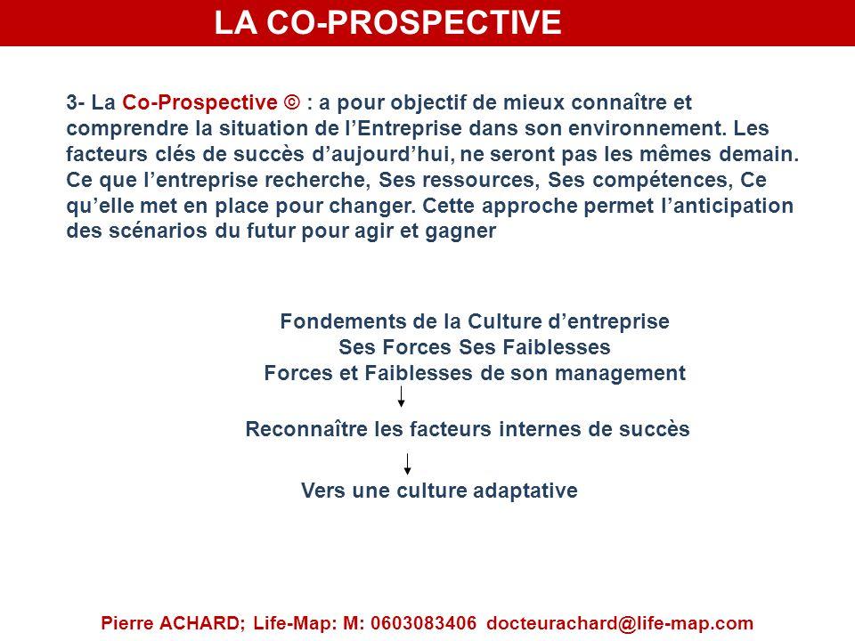 LA CO-PROSPECTIVE Pierre ACHARD; Life-Map: M: 0603083406 docteurachard@life-map.com 3- La Co-Prospective © : a pour objectif de mieux connaître et comprendre la situation de lEntreprise dans son environnement.