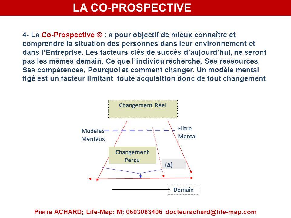 LA CO-PROSPECTIVE Pierre ACHARD; Life-Map: M: 0603083406 docteurachard@life-map.com 4- La Co-Prospective © : a pour objectif de mieux connaître et comprendre la situation des personnes dans leur environnement et dans lEntreprise.