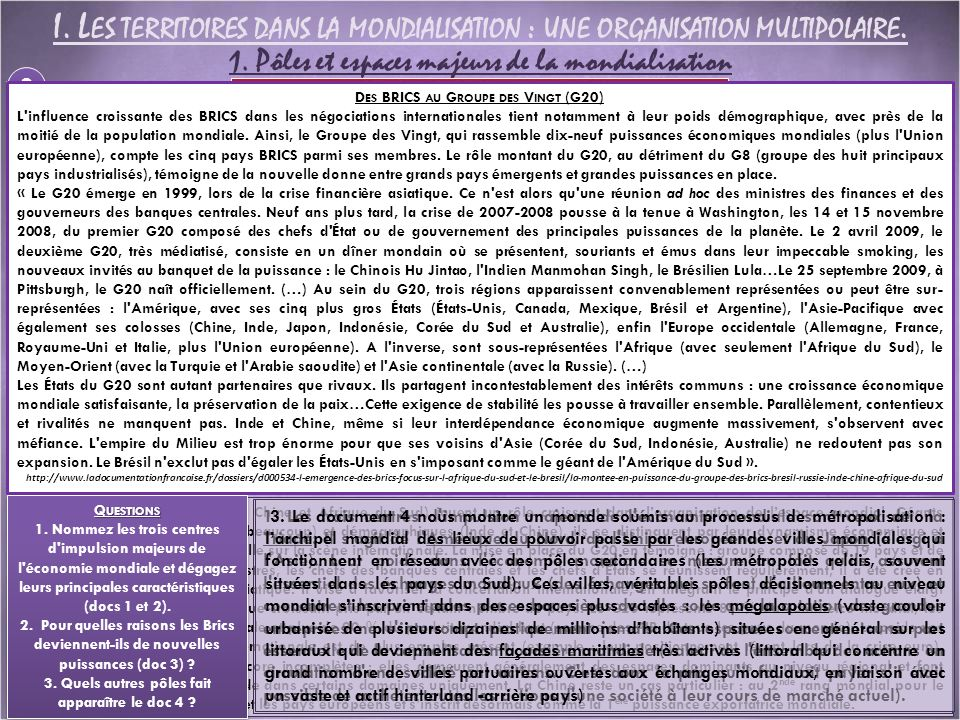 I.L ES TERRITOIRES DANS LA MONDIALISATION : UNE ORGANISATION MULTIPOLAIRE.