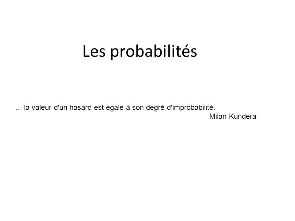 Les probabilités... la valeur d'un hasard est égale à son degré d'improbabilité. Milan Kundera
