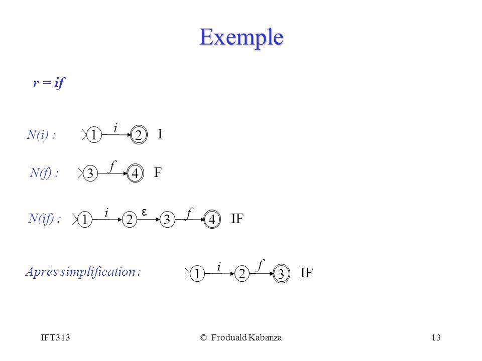 IFT313© Froduald Kabanza13 Exemple r = if 1 2 i I N(i) : 3 4 f F N(f) : 1 2 i 3 4 f IF ε N(if) : 1 2 i 3 f IF Après simplification :