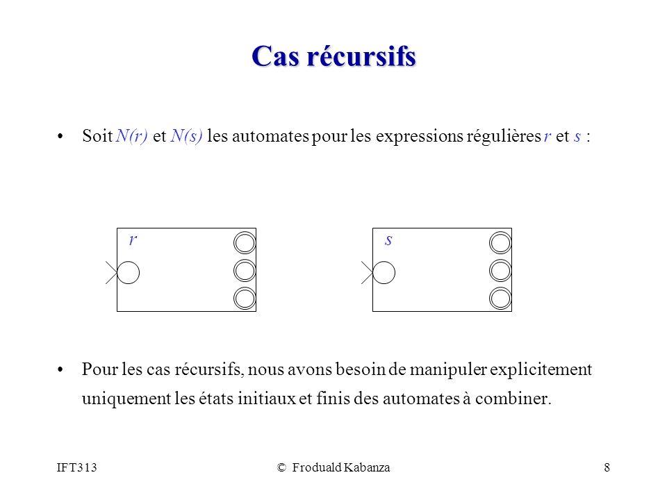 IFT313© Froduald Kabanza8 Cas récursifs Soit N(r) et N(s) les automates pour les expressions régulières r et s : Pour les cas récursifs, nous avons besoin de manipuler explicitement uniquement les états initiaux et finis des automates à combiner.