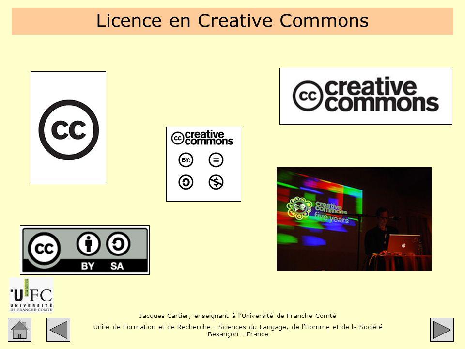 Jacques Cartier, enseignant à lUniversité de Franche-Comté Unité de Formation et de Recherche - Sciences du Langage, de lHomme et de la Société Besançon - France Licence en Creative Commons