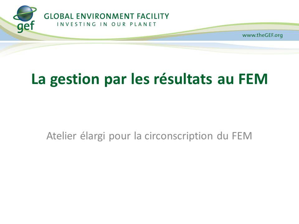 Plan de lexposé 1.La gestion par les résultats au FEM 2.Résultats des projets du FEM 3.Résultats du portefeuille du FEM 4.Présentation et acquis des outils de suivi 5.Rapports, accès des données et transparence 6.Efficacité de gestion et efficacité 7.Rapports