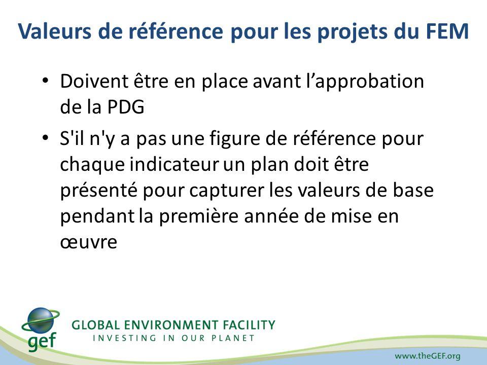 Valeurs de référence pour les projets du FEM Doivent être en place avant lapprobation de la PDG S il n y a pas une figure de référence pour chaque indicateur un plan doit être présenté pour capturer les valeurs de base pendant la première année de mise en œuvre
