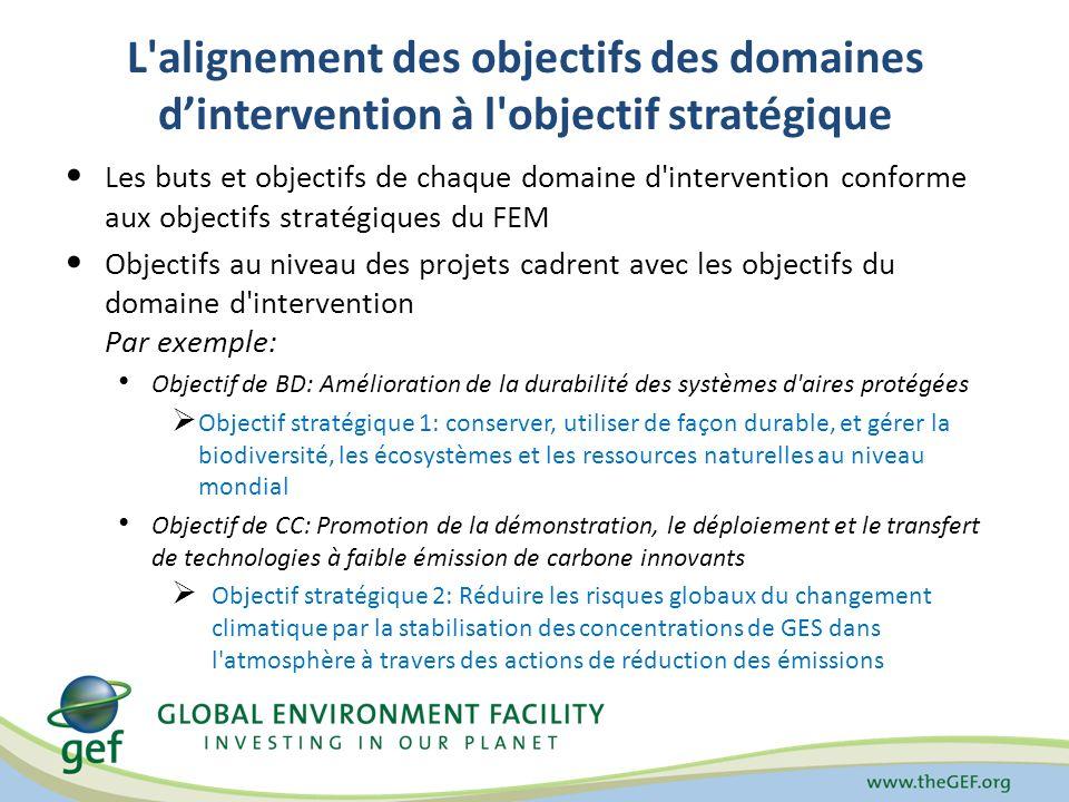L alignement des objectifs des domaines dintervention à l objectif stratégique Les buts et objectifs de chaque domaine d intervention conforme aux objectifs stratégiques du FEM Objectifs au niveau des projets cadrent avec les objectifs du domaine d intervention Par exemple: Objectif de BD: Amélioration de la durabilité des systèmes d aires protégées Objectif stratégique 1: conserver, utiliser de façon durable, et gérer la biodiversité, les écosystèmes et les ressources naturelles au niveau mondial Objectif de CC: Promotion de la démonstration, le déploiement et le transfert de technologies à faible émission de carbone innovants Objectif stratégique 2: Réduire les risques globaux du changement climatique par la stabilisation des concentrations de GES dans l atmosphère à travers des actions de réduction des émissions