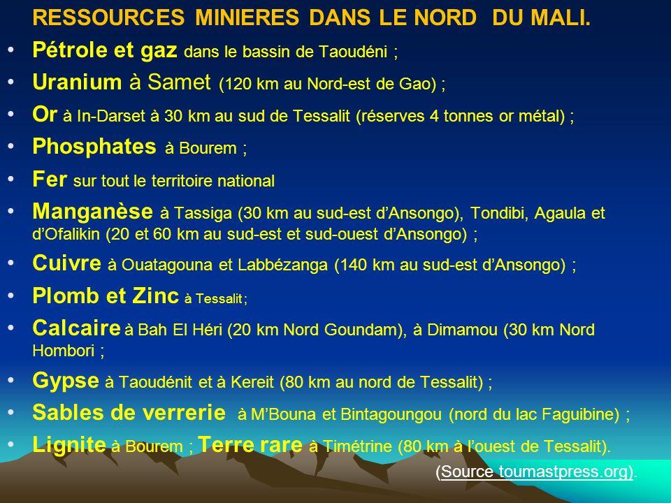 RESSOURCES MINIERES DANS LE NORD DU MALI. Pétrole et gaz dans le bassin de Taoudéni ; Uranium à Samet (120 km au Nord-est de Gao) ; Or à In-Darset à 3