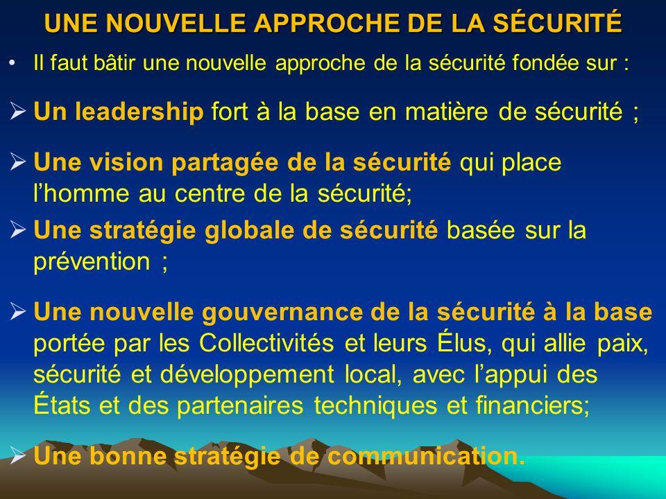 UNE NOUVELLE APPROCHE DE LA SÉCURITÉ Il faut bâtir une nouvelle approche de la sécurité fondée sur : Un leadership fort à la base en matière de sécuri