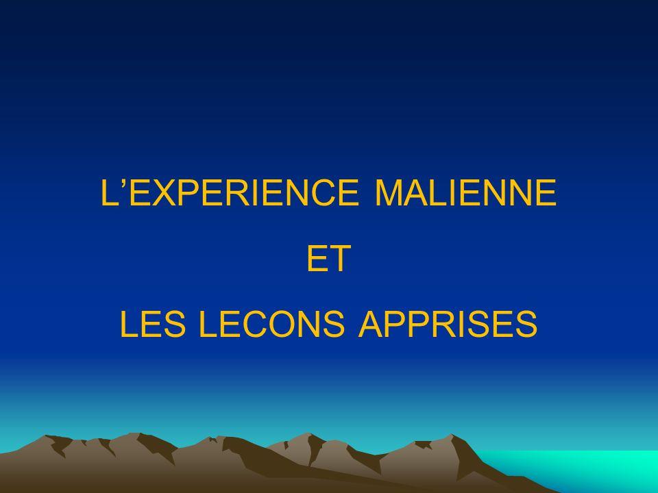LEXPERIENCE MALIENNE ET LES LECONS APPRISES