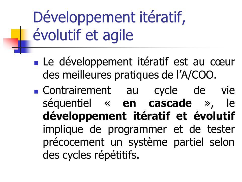 Développement itératif, évolutif et agile Le développement itératif est au cœur des meilleures pratiques de lA/COO. Contrairement au cycle de vie séqu