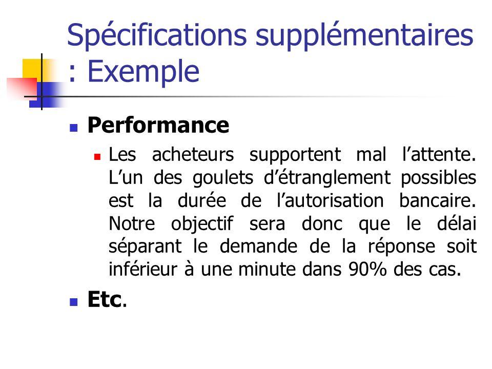 Spécifications supplémentaires : Exemple Performance Les acheteurs supportent mal lattente. Lun des goulets détranglement possibles est la durée de la