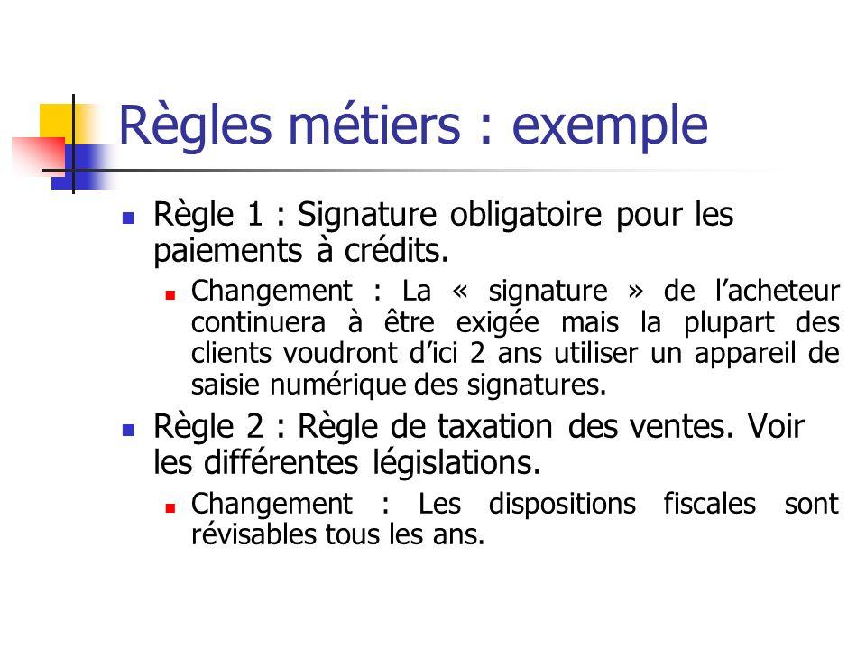 Règles métiers : exemple Règle 1 : Signature obligatoire pour les paiements à crédits. Changement : La « signature » de lacheteur continuera à être ex