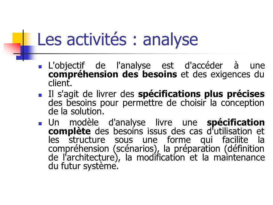 L'objectif de l'analyse est d'accéder à une compréhension des besoins et des exigences du client. Il s'agit de livrer des spécifications plus précises