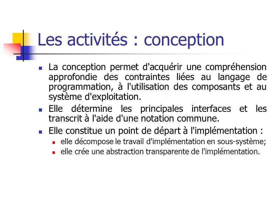 La conception permet d'acquérir une compréhension approfondie des contraintes liées au langage de programmation, à l'utilisation des composants et au