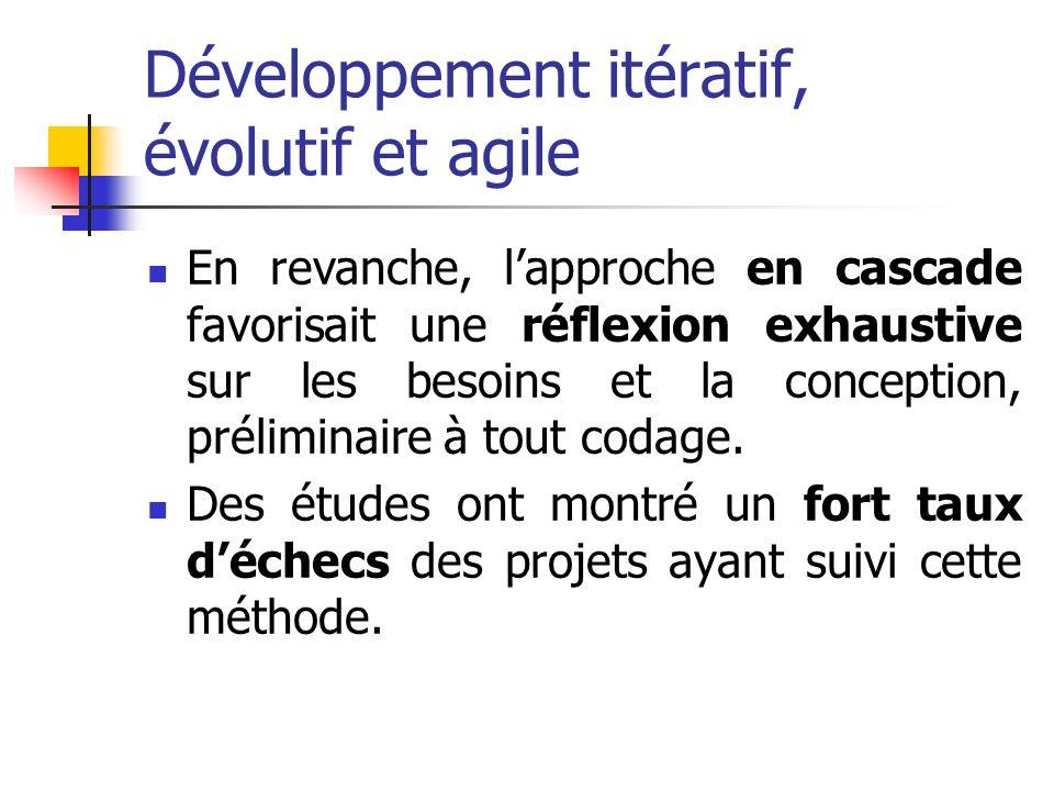 Développement itératif, évolutif et agile En revanche, lapproche en cascade favorisait une réflexion exhaustive sur les besoins et la conception, prél