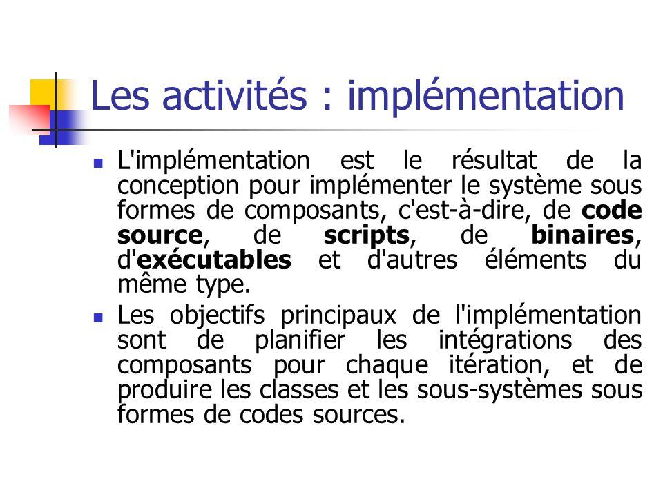 L'implémentation est le résultat de la conception pour implémenter le système sous formes de composants, c'est-à-dire, de code source, de scripts, de