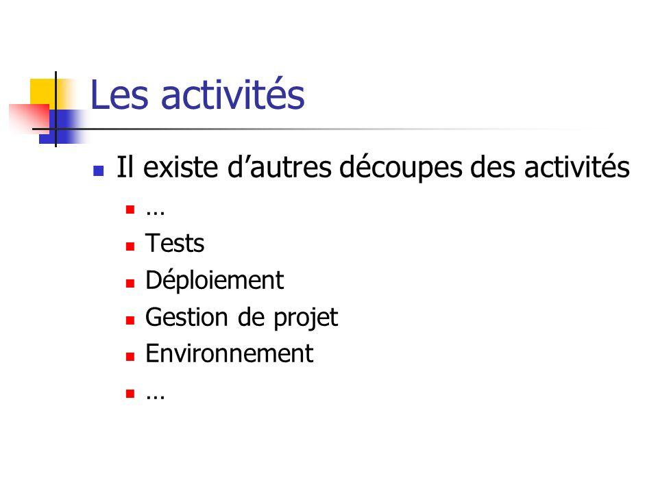 Les activités Il existe dautres découpes des activités … Tests Déploiement Gestion de projet Environnement …