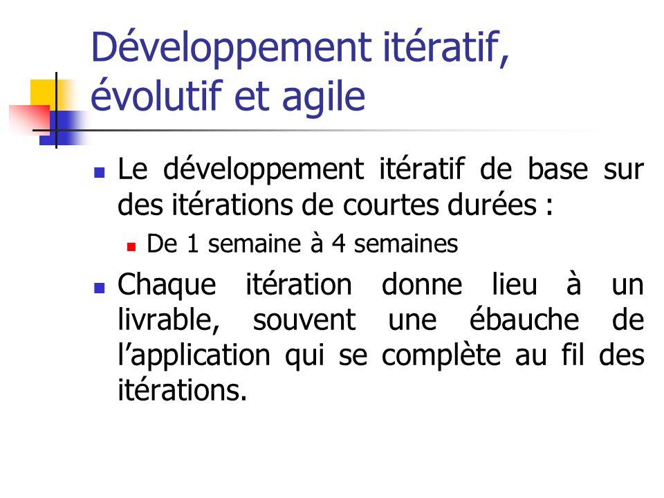 Développement itératif, évolutif et agile Le développement itératif de base sur des itérations de courtes durées : De 1 semaine à 4 semaines Chaque it