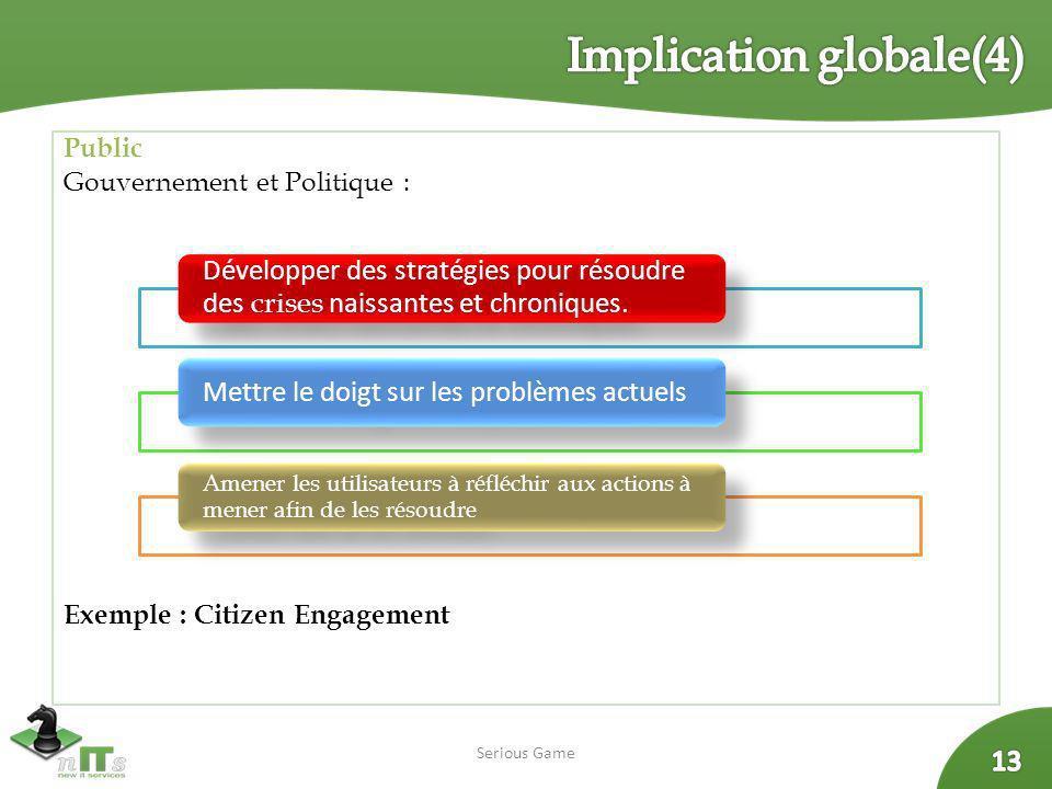 Public Gouvernement et Politique : Exemple : Citizen Engagement Serious Game Développer des stratégies pour résoudre des crises naissantes et chroniqu