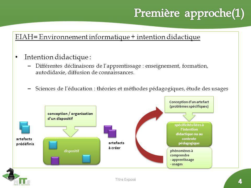 EIAH= Environnement informatique + intention didactique Intention didactique : – Différentes déclinaisons de lapprentissage : enseignement, formation,