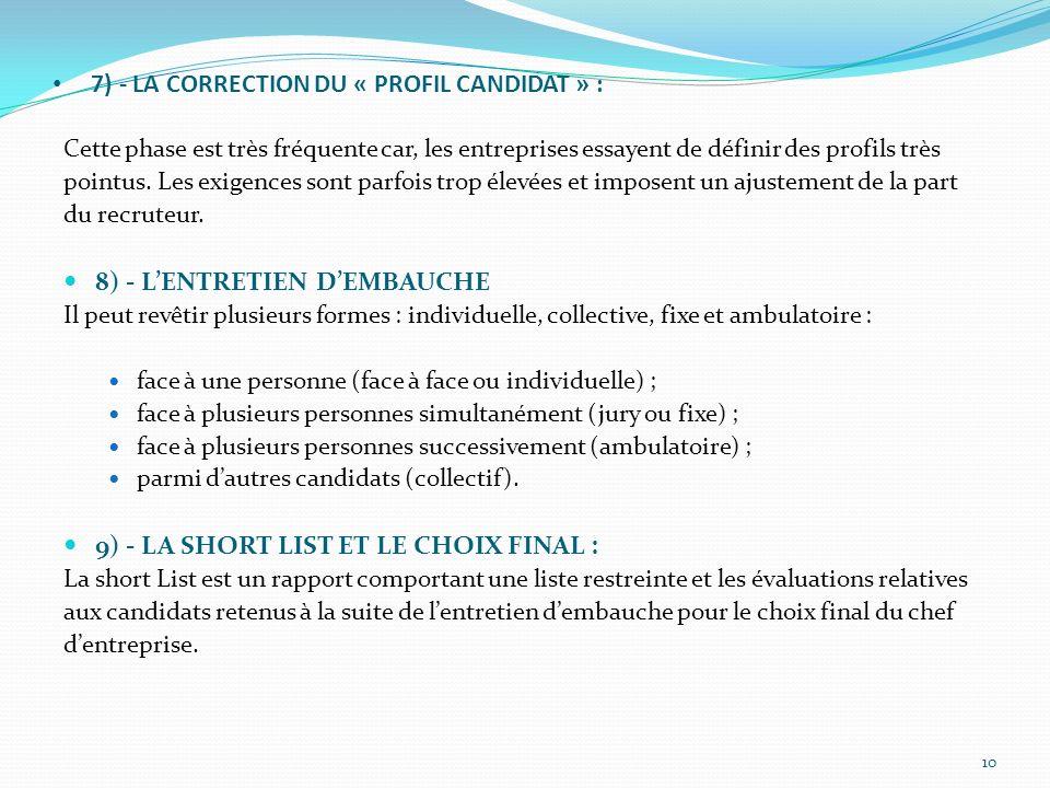 7) - LA CORRECTION DU « PROFIL CANDIDAT » : Cette phase est très fréquente car, les entreprises essayent de définir des profils très pointus. Les exig