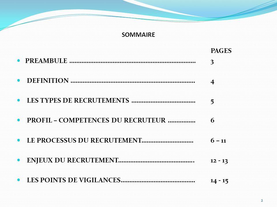SOMMAIRE PAGES PREAMBULE ……………………………………………………………….3 DEFINITION ………………………………………………………………4 LES TYPES DE RECRUTEMENTS ……………………………….5 PROFIL – COMPETENCES DU RECRUTEUR …………….6 LE PROCESSUS DU RECRUTEMENT…………………………6 – 11 ENJEUX DU RECRUTEMENT……………………………………..12 - 13 LES POINTS DE VIGILANCES…………………………………….14 - 15 2