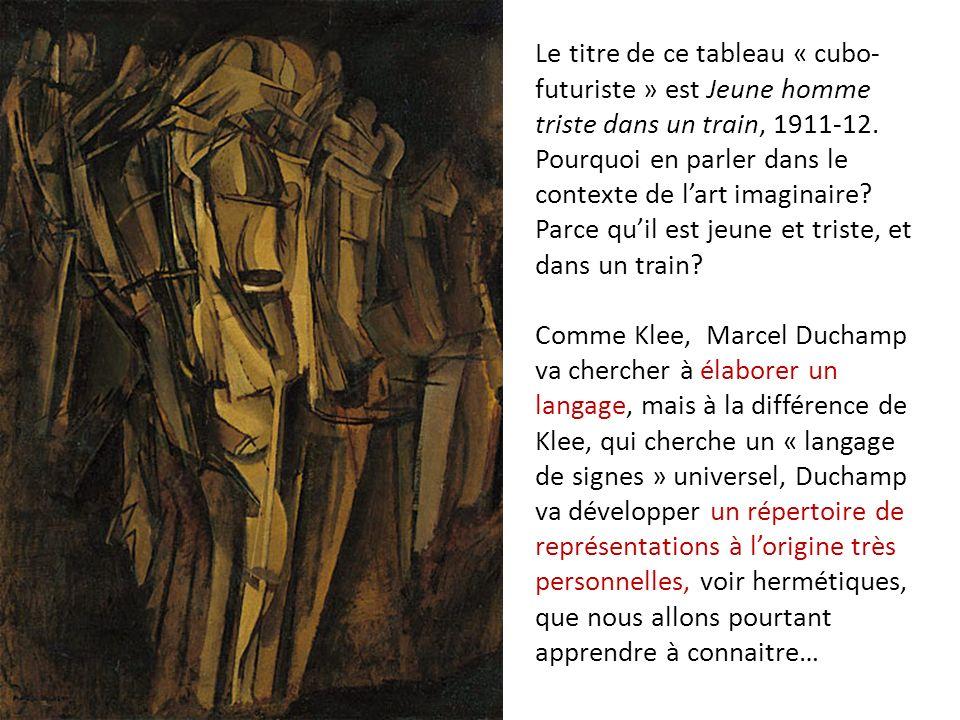 Le titre de ce tableau « cubo- futuriste » est Jeune homme triste dans un train, 1911-12. Pourquoi en parler dans le contexte de lart imaginaire? Parc