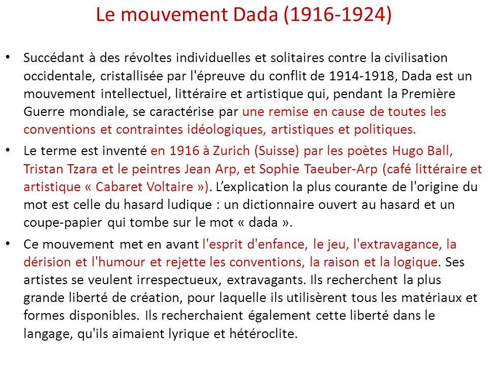 Le mouvement Dada (1916-1924) Succédant à des révoltes individuelles et solitaires contre la civilisation occidentale, cristallisée par l'épreuve du c
