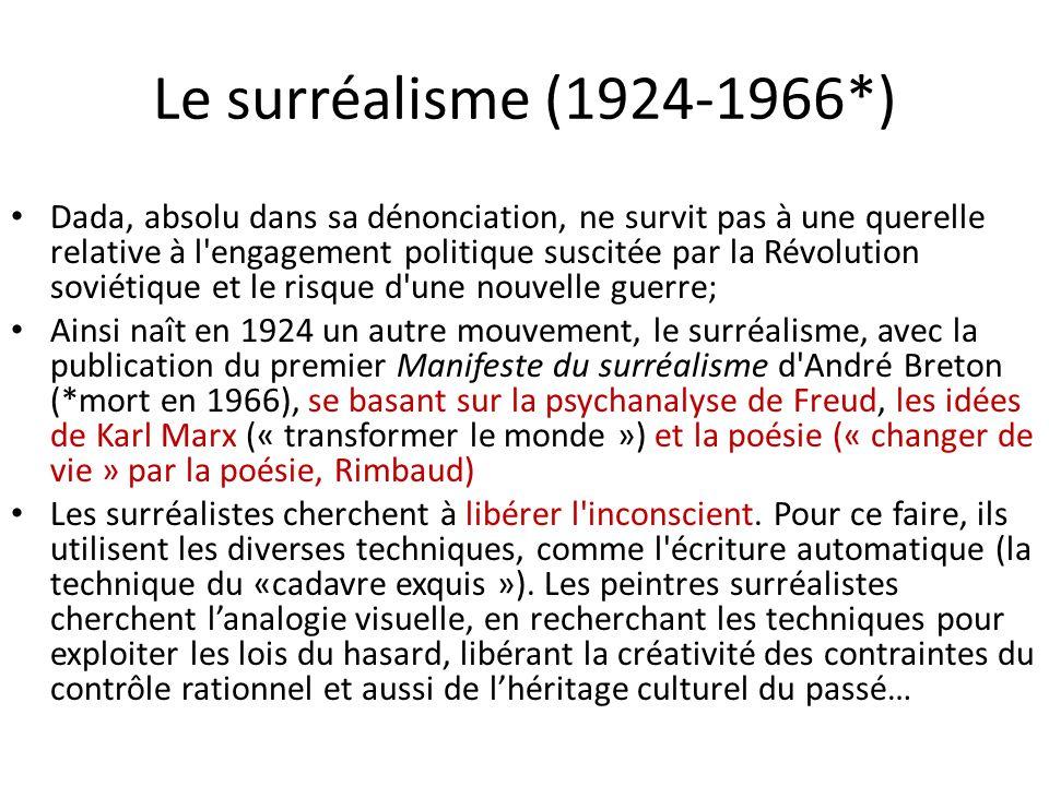 Le surréalisme (1924-1966*) Dada, absolu dans sa dénonciation, ne survit pas à une querelle relative à l'engagement politique suscitée par la Révoluti