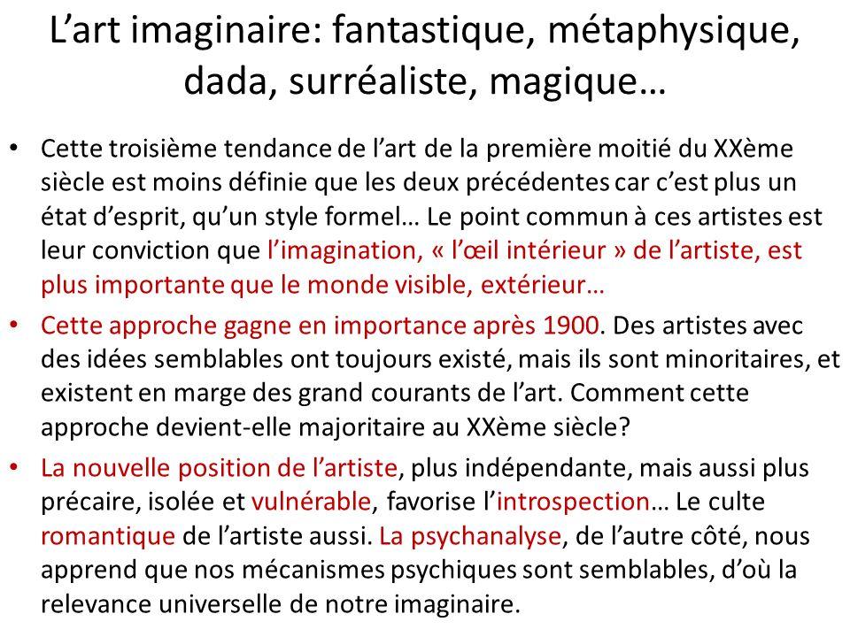Lart imaginaire: fantastique, métaphysique, dada, surréaliste, magique… Cette troisième tendance de lart de la première moitié du XXème siècle est moi