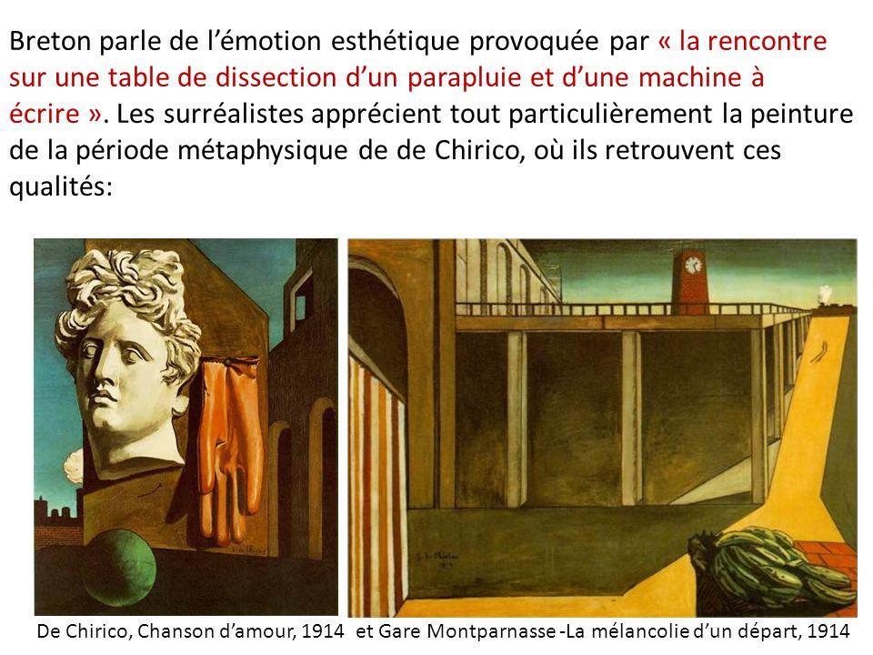 Breton parle de lémotion esthétique provoquée par « la rencontre sur une table de dissection dun parapluie et dune machine à écrire ». Les surréaliste