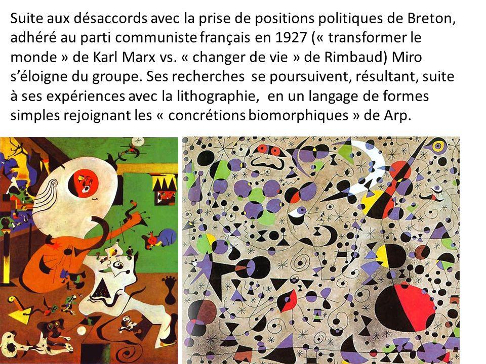 Suite aux désaccords avec la prise de positions politiques de Breton, adhéré au parti communiste français en 1927 (« transformer le monde » de Karl Ma