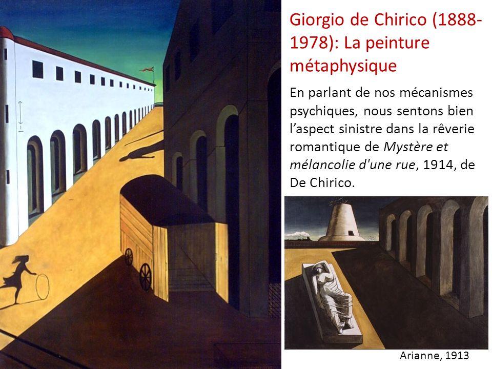 Giorgio de Chirico (1888- 1978): La peinture métaphysique En parlant de nos mécanismes psychiques, nous sentons bien laspect sinistre dans la rêverie