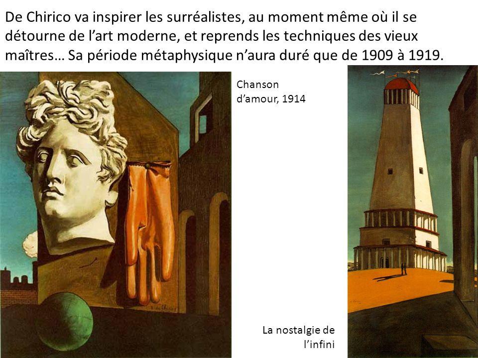 De Chirico va inspirer les surréalistes, au moment même où il se détourne de lart moderne, et reprends les techniques des vieux maîtres… Sa période mé