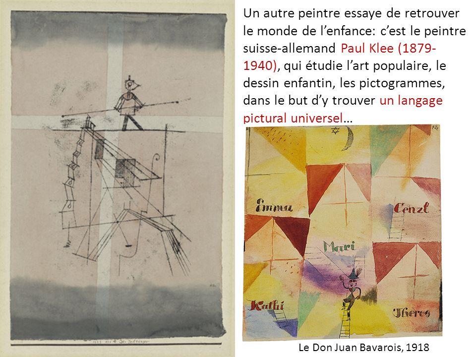 Un autre peintre essaye de retrouver le monde de lenfance: cest le peintre suisse-allemand Paul Klee (1879- 1940), qui étudie lart populaire, le dessi