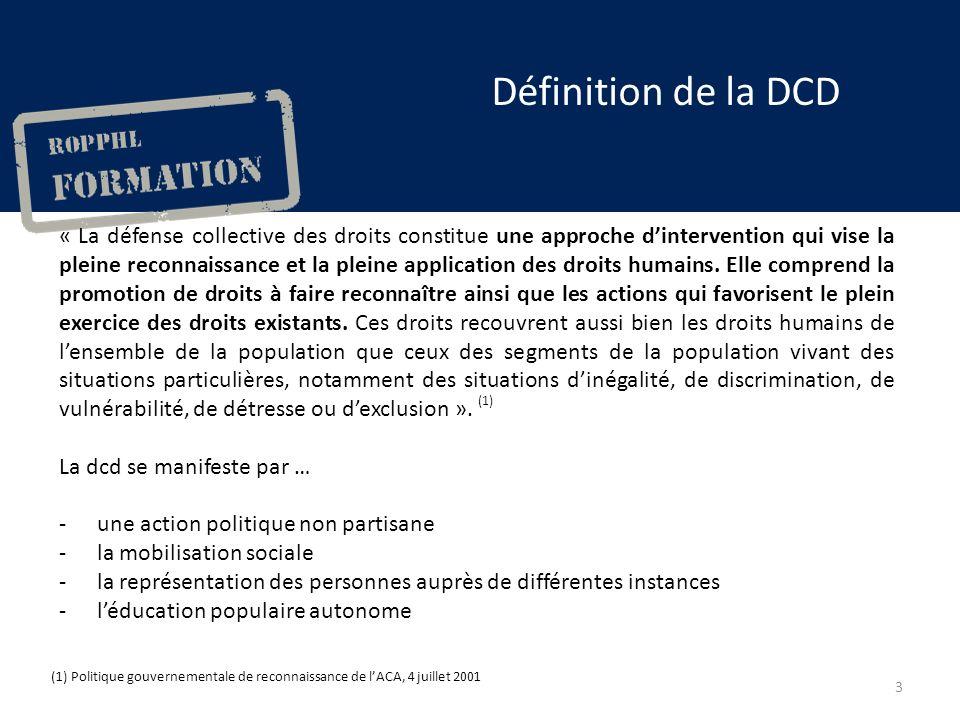 Définition de la DCD « La défense collective des droits constitue une approche dintervention qui vise la pleine reconnaissance et la pleine application des droits humains.