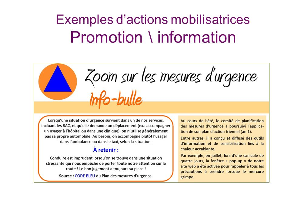 Exemples dactions mobilisatrices Promotion \ information