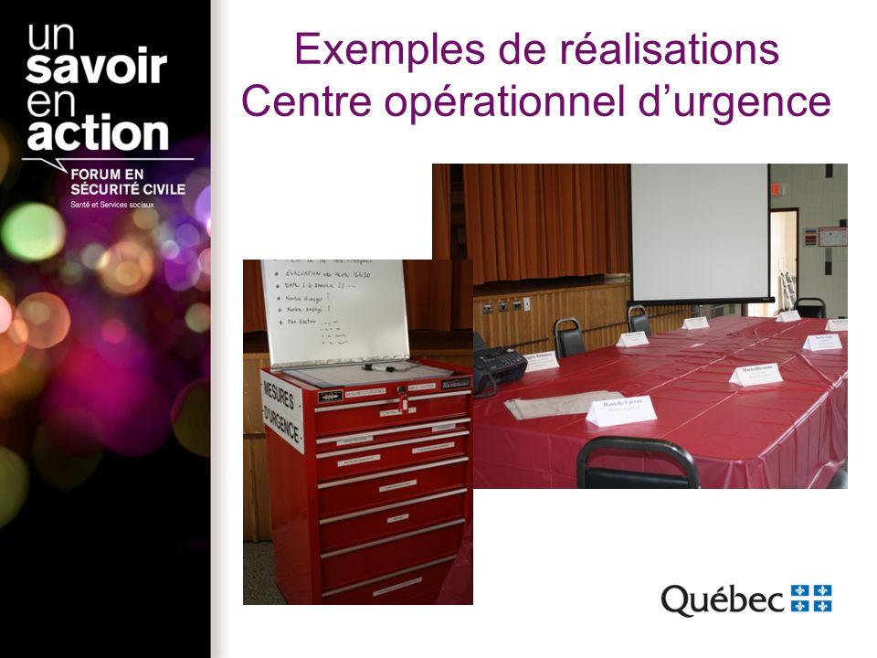 Exemples de réalisations Centre opérationnel durgence