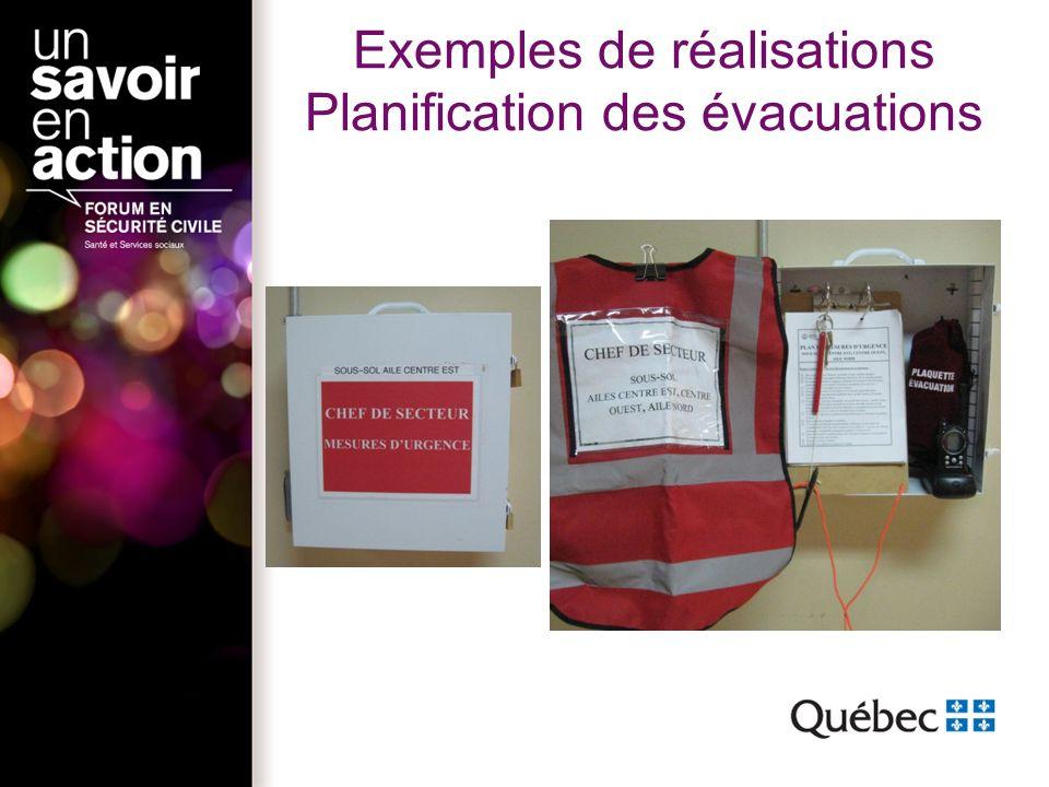 Exemples de réalisations Planification des évacuations