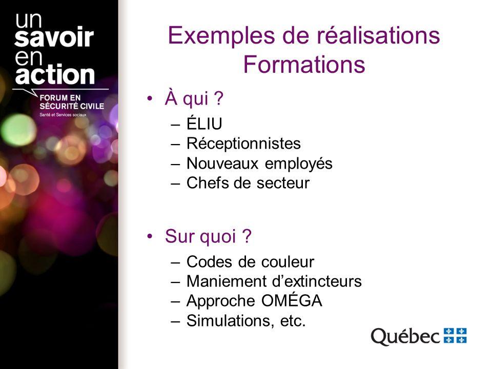 Exemples de réalisations Formations À qui .