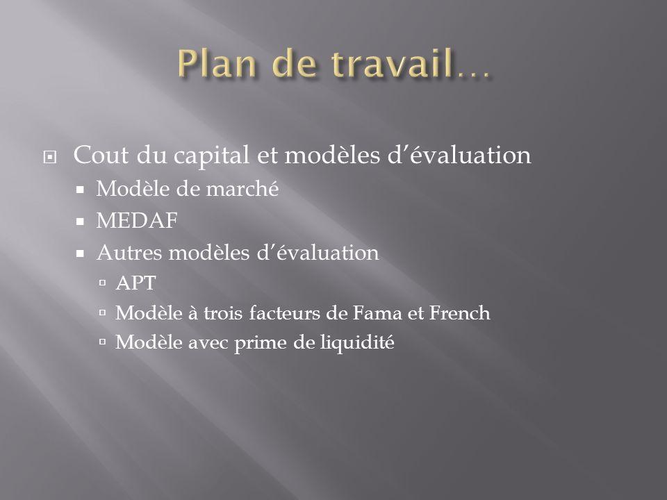 Cout du capital et modèles dévaluation Modèle de marché MEDAF Autres modèles dévaluation APT Modèle à trois facteurs de Fama et French Modèle avec pri