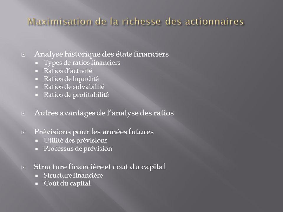 Analyse historique des états financiers Types de ratios financiers Ratios dactivité Ratios de liquidité Ratios de solvabilité Ratios de profitabilité