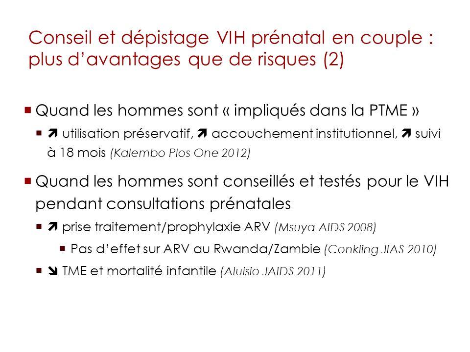 Conseil et dépistage VIH prénatal en couple : plus davantages que de risques (2) Quand les hommes sont « impliqués dans la PTME » utilisation préserva
