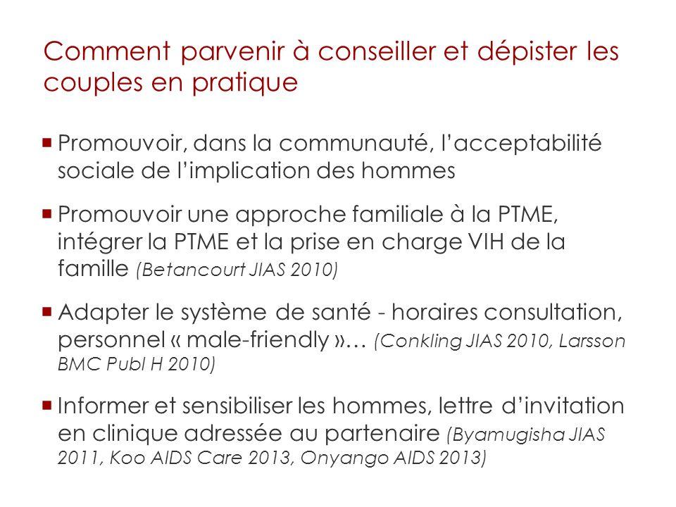Promouvoir, dans la communauté, lacceptabilité sociale de limplication des hommes Promouvoir une approche familiale à la PTME, intégrer la PTME et la